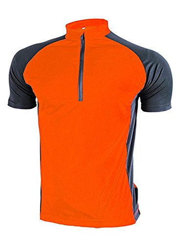 ZITY Cycling Jersey For Mens/Breathable Short Sleeve Cycling Jersey Orange XL