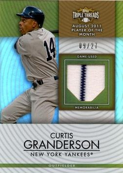 2012 Topps Triple Threads Relics #TTUR-84 Curtis Granderson Game Worn Jersey Baseball Card - Only 27 made!