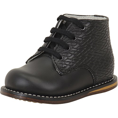 Josmo Toddler Boy's First Walker Black Print Woven Lace Up Oxfords Shoes Sz: 6.5
