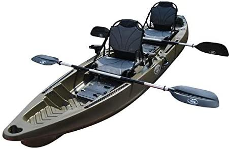 BKC TK122 12.9 Tandem Fishing Kayak W Aluminum Upright Seats, Paddles, 4 Rod Holders Included 2-3 Person Angler Kayak