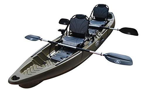 BKC TK122 12.9' Tandem Fishing Kayak W/Aluminum Upright Seats, Paddles, 4 Rod Holders Included 2-3 Person Angler Kayak