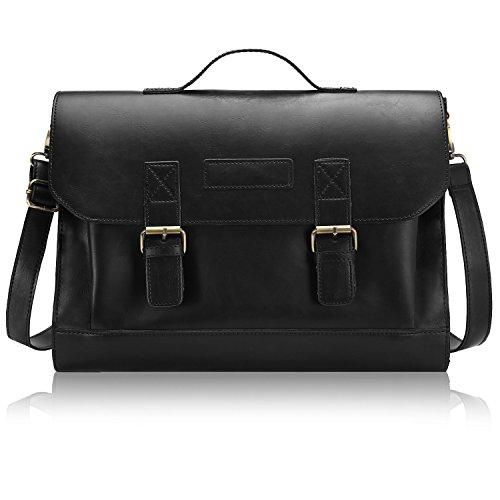 Adi Designs Backpack (Bagerly Mens Vintage Leather Messenger Cross Body Shoulder Bag Briefcase (Black))
