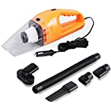 HOPPIC 120W High Power Handheld Car Vacuum Cleaner, Wet-Dry Auto Vacuum Buster with 16.4 FT(5M) Power Cord- Orange