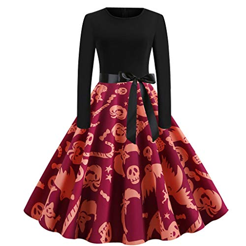 Womens Halloween Dresses Evening Dress Party Costume Pumpkin Print Fashion Long Sleeve Bow Zipper Cosplay Dress Wine L
