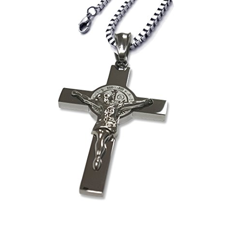 Catholic Stainless Steel Saint Benedict Crucifix S…