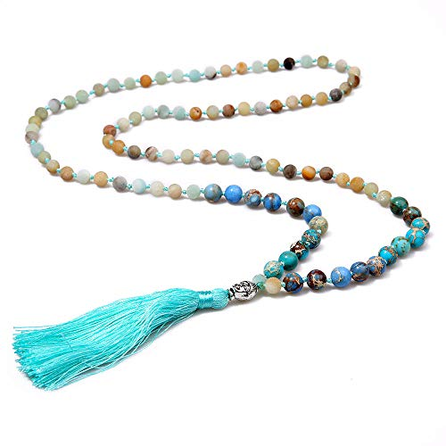 (Molike Tassel Lava Rock Natural Stone Turquoise Beads Necklace Strand Long Statement Jewelry for Women (Style: 2))