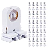 JESLED Non Shunted LED Tombstones - (Pack of 50) T8 Lamp Holder, UL Turn Type Tombstone Lampholder for T10 T12 LED Fluorescent Tube Replacement, Medium Bi-pin G13 Socket for Programmed Start Ballasts