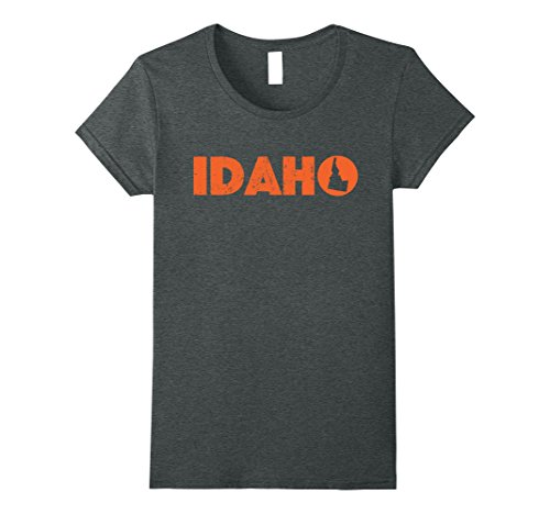 Womens Idaho Home State Love   Orange Lettering T Shirt   Gift Large Dark Heather