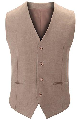 JOKHOO Men's Formal Slim Business Dress Suit Lightweight Vests (Johnny Formal Dress)
