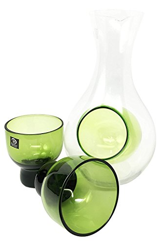 Beautiful Infused Green Glass Cold Sake Set Flask With Two Cups Great Asian Living Home Decor and Gift For Housewarming Celebration Toast Far Eastern Decorative Party Set