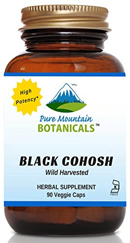 High Potency Black Cohosh - 90 Kosher Vegetarian Capsules - Now with 500mg - Full Spectrum Wild Black Cohosh Root by Pure Mountain Botanicals