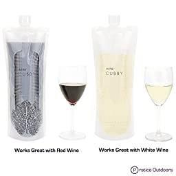 WineCubby - Reusable Foldable Wine Bag Set - Includes Wine Bottle Carrying Case & Collapsible Funnel