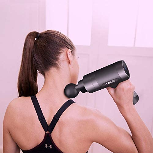 AISZG Massage Gun, Deep Tissue Percussion Muscle Massager for Athletes, Silicone Handle, Electric Body Massager with 5 Adjustable Speeds and 6 Heads, 2500mAh 7