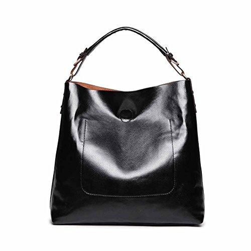 ZENTEII Women Second Layer of Leather Handbag Satchel Hobo Tote (Black)