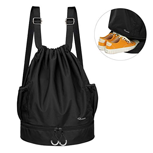RYACO Waterproof Drawstring Backpack Bag with Shoe Compartment Swim bag with Dry Wet Separated Sport Gym Beach Yoga Bag for Men Women Kids (Black)