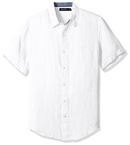 Nautica Men's Short Sleeve Classic Fit Solid Linen Button Down Shirt, Bright White, X-Large
