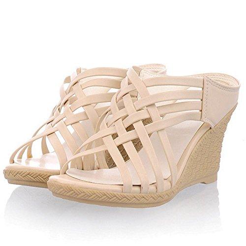 Zanpa Mujer Mode Tacon de Cuna Mules Sandales Beige