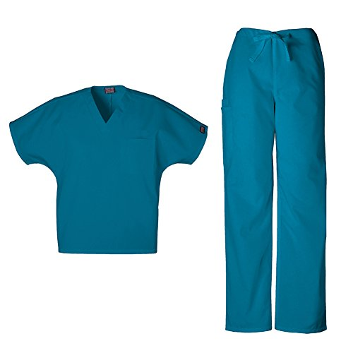 Cherokee Workwear Unisex V-Neck Top 4777 & Straight Leg Drawstring Pant 4100 Scrub Set (Caribbean Blue - Medium / Small)
