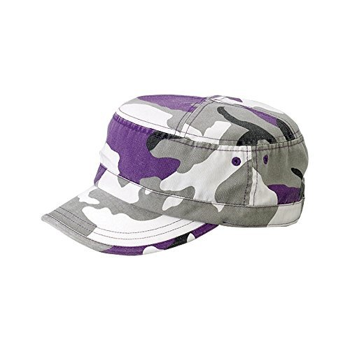 MG Enzyme Washed Cotton Twill Cap,  Lilac Camo One Size