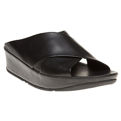 FitFlop trade; Womens Kys™ Leather Slide Sandals All Black Size 7 by FitFlop