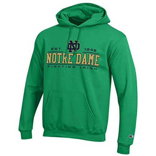 Champion Campus Colors Notre Dame Fighting Irish Powerblend Hoodie for Adults - Officially Licensed Unisex NCAA Team Hooded Sweatshirt ()