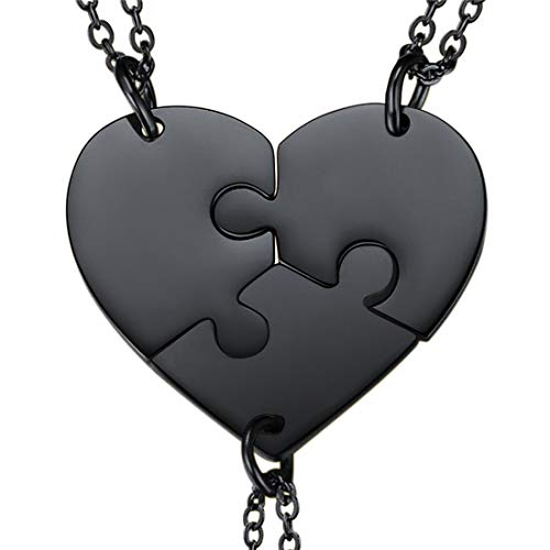 U7 BFF Necklace for 2/3/4 Stainless Steel Chain Personalized Family Love/Friendship Jewelry Set Free Engraving Heart Pendants (Set of 3 Black (Blank))
