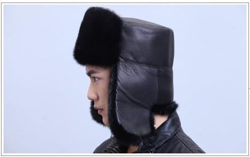 URSFUR Mens Mink Fur /& Leather Russian Ushanka Hats