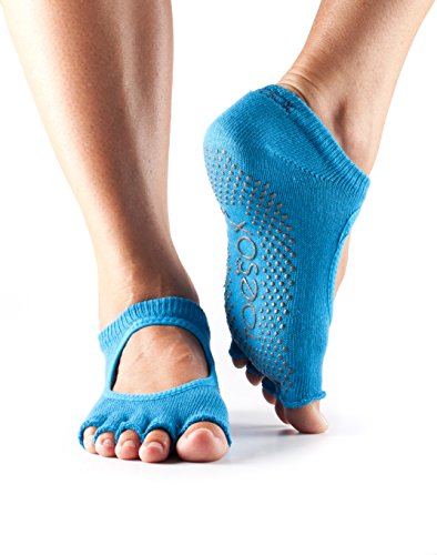 ToeSox Women's Grip Half Toe Bella Socks, Large, Skydiver