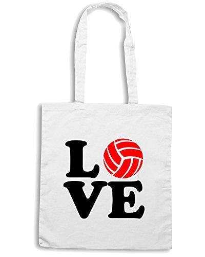 T-Shirtshock - Bolsa para la compra T0926 love vollley sport Blanco