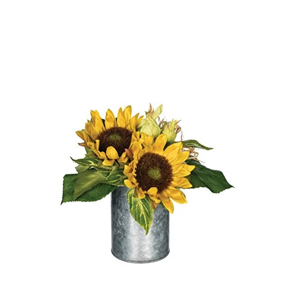 """Artificial Potted Sunflowers in Galvanized Metal Can, 9"""""""