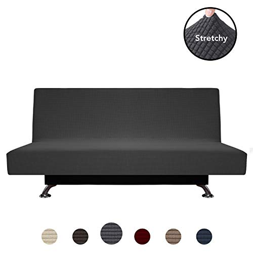 (PureFit Stretch Futon Sofa Slipcover - Spandex Jacquard Anti-Slip Soft Couch Sofa Cover Without Armrest,Washable Furniture Protector with Elastic Bottom for Kids (Futon, Dark Gray) )