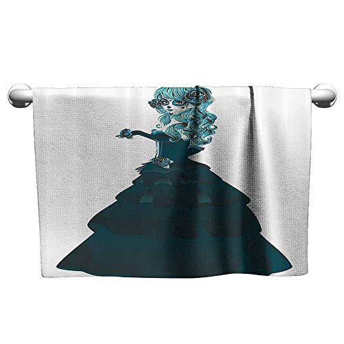 Day of The Dead Decor Quick Dry Towel Dia de Los Muertos Festival Scary Girl with Ball Dress Print W8 x L23 Teal and Dark Green -