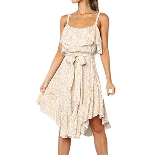 Landfox Sequin Dress,Dress for Women, Ruffles Off Shoulder Dress,Women's Sexy Printing Princess Dress Beige]()