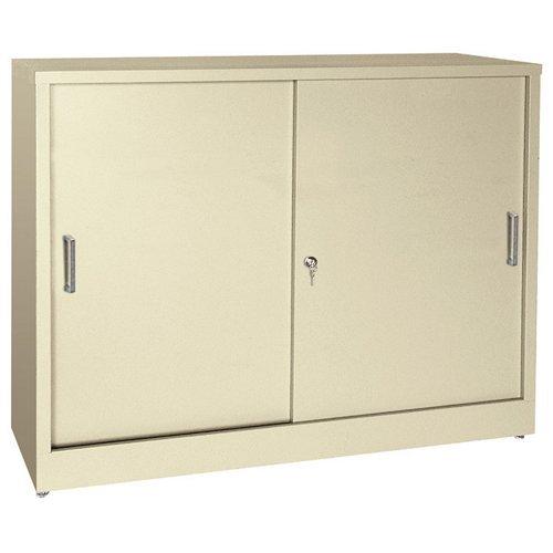 Sliding Door Metal Cabinet (Desk Height Sliding Door Storage Cabinet Black Paint)