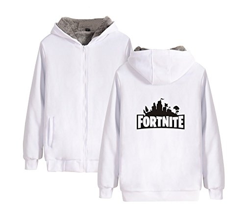 Outwear Con White Plus Aivosen Cashmere E Uomini Donne Fortnite Per Unisex Invernale Zip Comode Cappuccio Cappotto Fqt0RZt