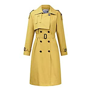 Women's Double Breasted Pea Coat Winter Trench Jacket with Belt,Classic Waterproof Overcoat with Belt Female,Four Colors Optional,Yellow,M