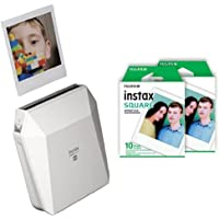 Fujifilm Instax Share Printer SP3 White and Fujifilm Instax Square film 2 Pack , White Bundle