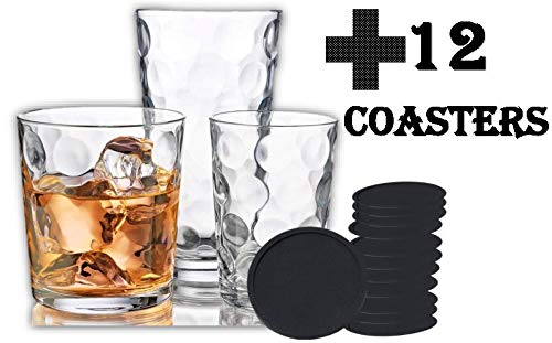 (Galaxy Glassware 12-Pc. Set + 12 Black Silicone Coasters Perfect For a Gift or Everyday Use)