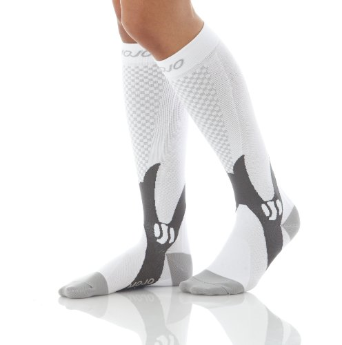 Authentic, Mojo Sports Compression Socks for Recovery & Performance, Compression Stockings (White, Medium)