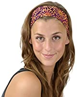 Bargain Headbands Tropical Paradise in Rose and Toasted Orange/Yellow Over Purple