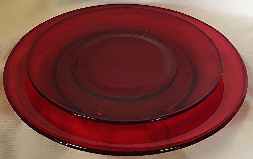 - Set of 3 Plain & Simple Pattern - Bread / Salad / Dinner Plate - Mosser Glass (Red)