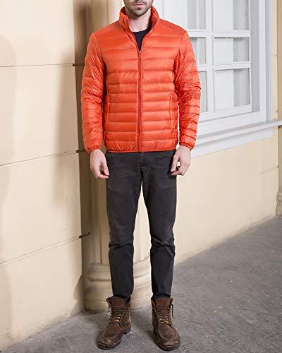Cappotti Allentati Piumini Uomo Arancione Collare Casuale Guocu Piedi Leggero Inverno In xFg04q64