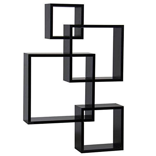 Best Choice Products Intersecting Squares Floating Shelf Wall Mounted Home Decor Furniture (Wood Intersecting Shelf Wall)