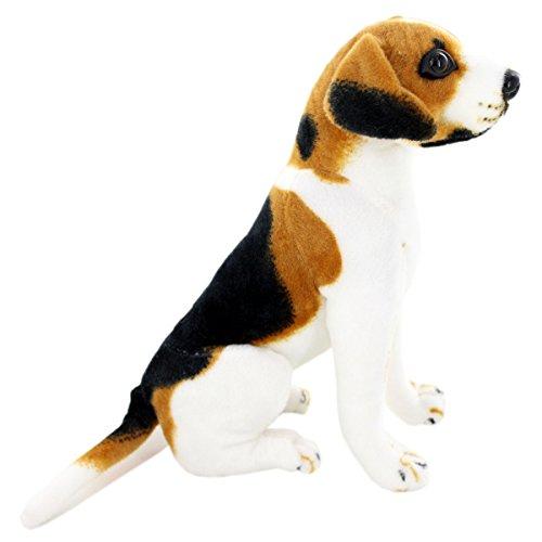 - JESONN Lifelike Stuffed Animals Toys Sitting Dog Plush (Beagle, 12 Inches)