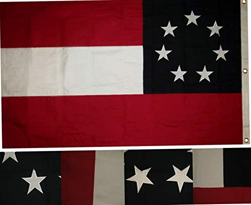 Mikash 3x5 Embroidered First National Stars Bars 7 Stars 100% Cotton Flag 3x5 3 Clips | Model FLG - 3379