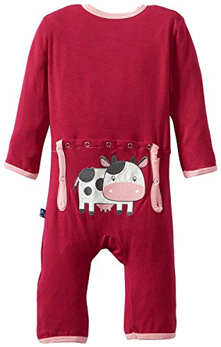Kickee Pants Applique Coverall, Berry Cow