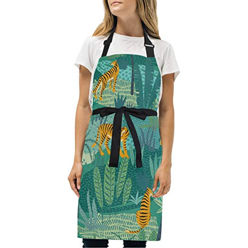 - DOMIKING Womens Aprons Tigers Jungle Tropical Apron Unisex Kitchen Bib Apron with Pockets Adjustable Neck for Cooking Baking Gardening
