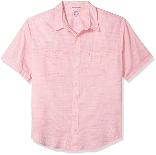IZOD Men's Big and Tall Saltwater Chambray Solid Short Sleeve Shirt, red Rose, -