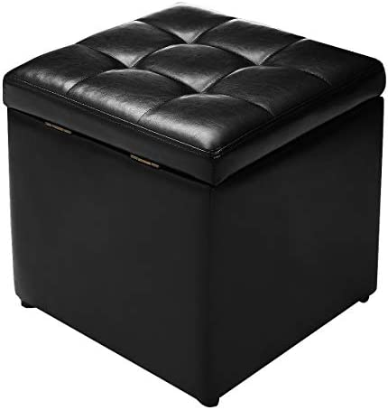 Giantex 16 Cube Ottoman Pouffe Storage Box Lounge Seat Footstools W/Hinge Top and Bottom Feet Home Living Room Bedroom Furniture Storage Ottoman 16 16 16 Footrest Stool Black