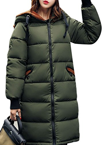 Puffer Coat Drawstring Gocgt Parka Camouflage Green Army Down Down Winter Jacket Women's Hood xznnqUCpw